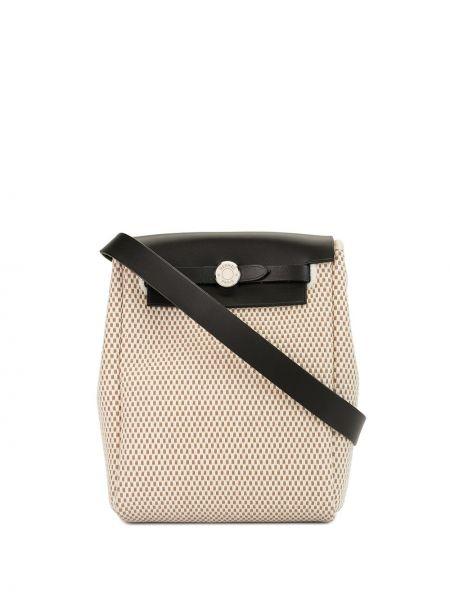 Парусиновая бежевая сумка винтажная со вставками Hermès