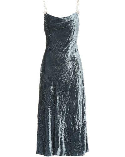Платье миди с вышивкой на бретелях Miu Miu