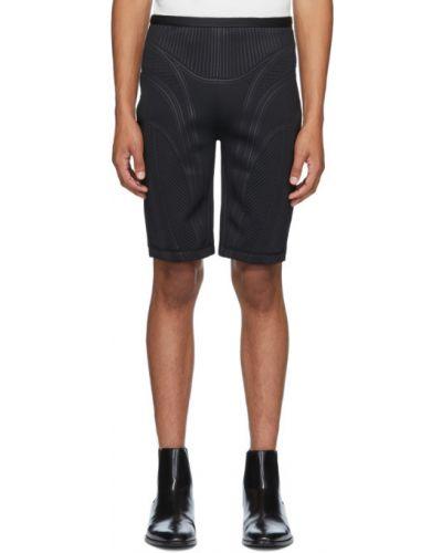 Трикотажные черные шорты с тиснением Mugler