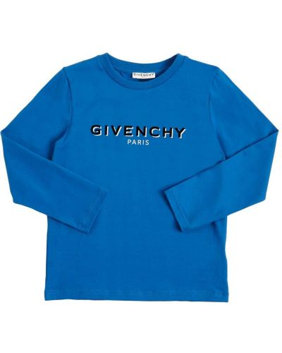 Ватная хлопковая синяя футболка Givenchy