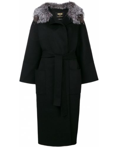 Черное длинное пальто с капюшоном S.w.o.r.d 6.6.44