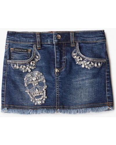 Синяя джинсовая юбка Philipp Plein