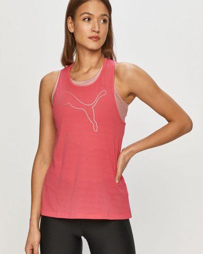 Różowy top sportowy dzianinowy z printem Puma