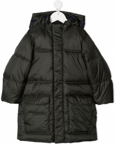 Зеленое длинное пальто милитари с карманами Emporio Armani Kids