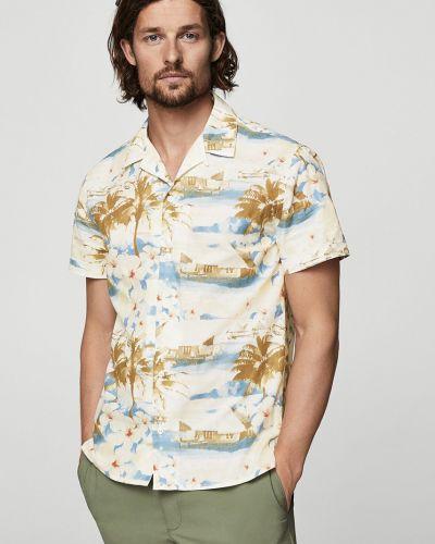 Рубашка с короткими рукавами в клетку хлопковая Mango Man