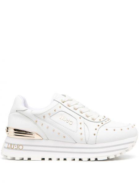 Biały włókienniczy sneakersy na platformie na sznurowadłach okrągły Liu Jo