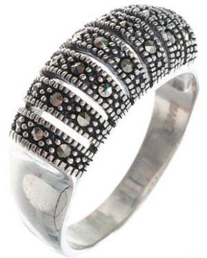 Кольцо из серебра свободного кроя марказит