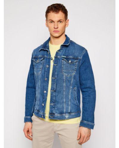 Niebieski kurtka jeansowa Guess