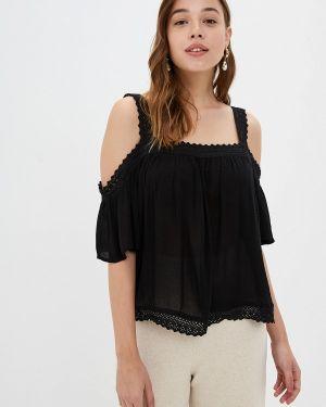 Черная блузка с открытыми плечами Rock Angel