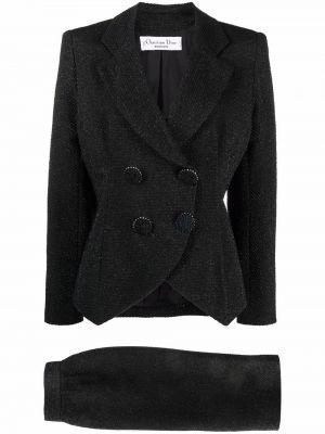 Czarna spódnica maxi z wysokim stanem z jedwabiu Christian Dior