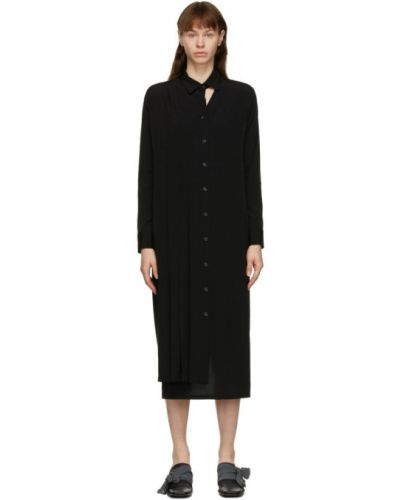 Черное сатиновое плиссированное платье макси с воротником Yohji Yamamoto