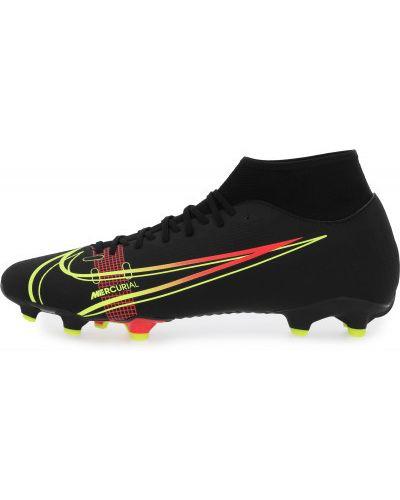 Кожаные черные футбольные бутсы Nike