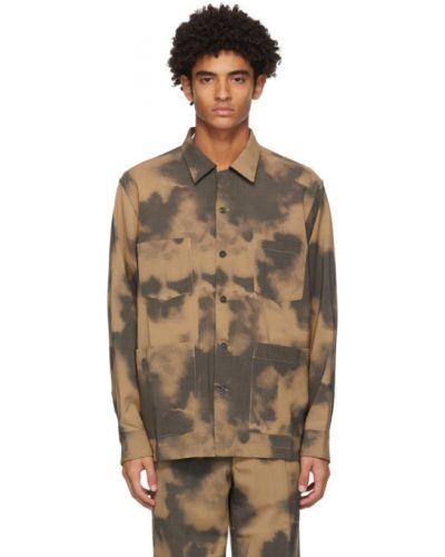 Коричневая длинная куртка с манжетами с воротником с карманами Schnaydermans