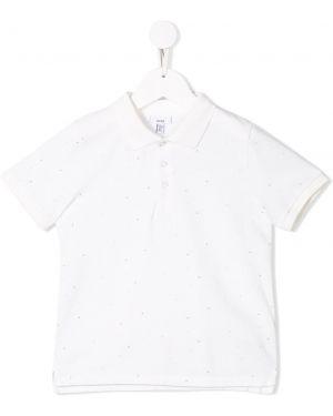 Асимметричная белая рубашка в рубчик на пуговицах Knot