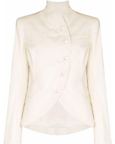 Белый удлиненный пиджак с карманами на пуговицах Matériel