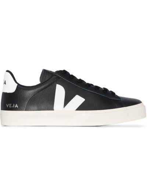 Кожаные черные кеды на шнуровке Veja