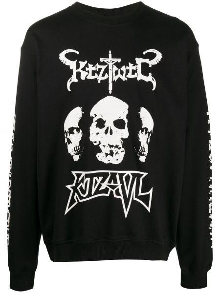 Czarna bluza z długimi rękawami bawełniana Ktz