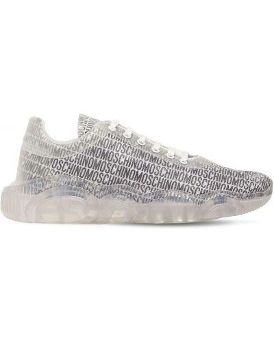 Białe sneakersy sznurowane koronkowe Moschino