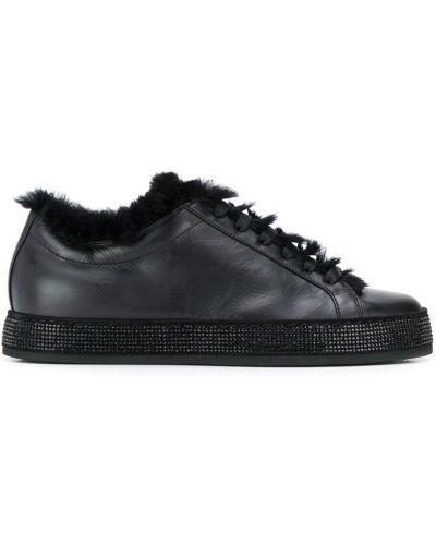 Кожаные кроссовки с логотипом черные Le Silla
