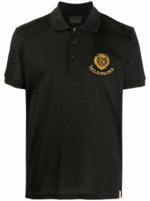 Bawełna prosto czarny koszula krótkie z krótkim rękawem z haftem Billionaire