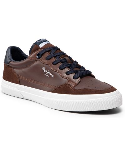 Buty sportowe skorzane - brązowe Pepe Jeans