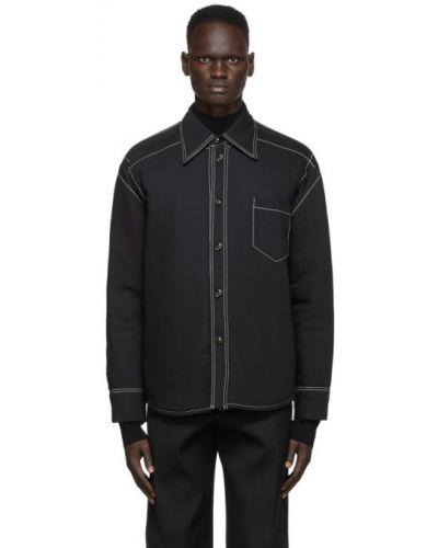 Черная теплая рубашка с воротником с заплатками Namacheko