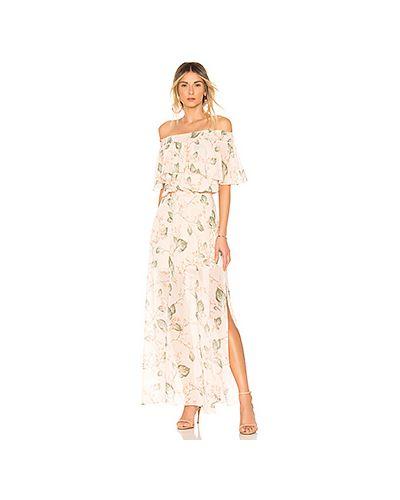 Платье с поясом персиковое с оборками Bobi