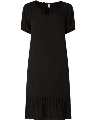 Czarna sukienka mini rozkloszowana z falbanami Soyaconcept