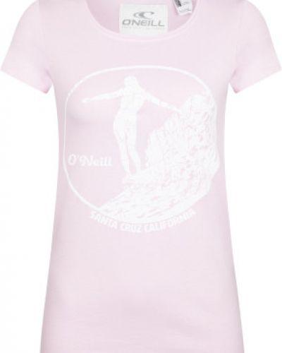 Хлопковая розовая прямая футболка O`neill