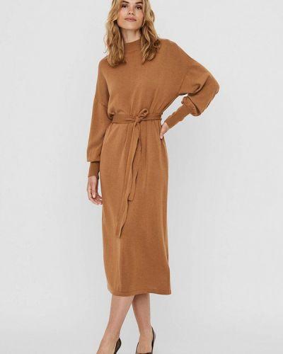Коричневое вязаное платье Vero Moda