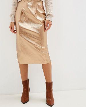 Кожаная юбка итальянский золотой Imperial