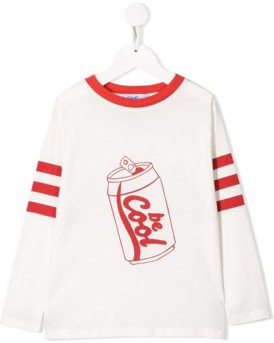 С рукавами хлопковая белая футболка с круглым вырезом Bandy Button
