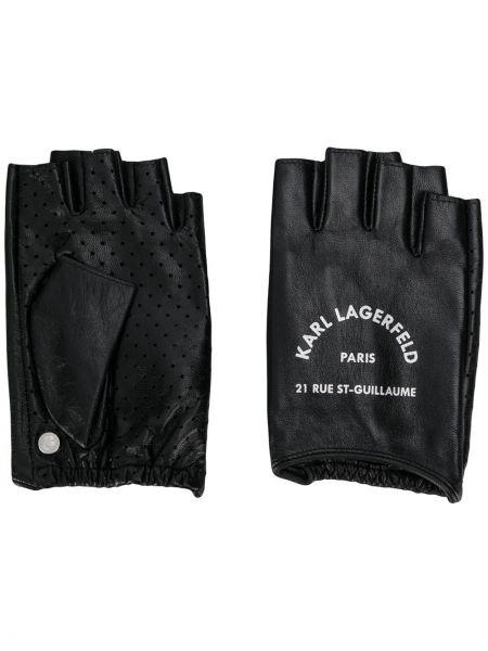 Кожаные черные кожаные перчатки с перфорацией Karl Lagerfeld