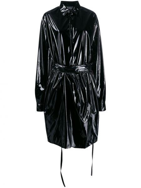 Однобортное черное пальто классическое с воротником Barbara Bologna