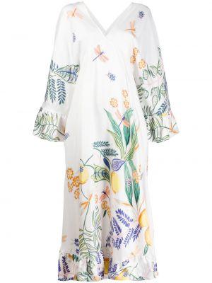 Шелковое платье с V-образным вырезом на молнии свободного кроя La Doublej