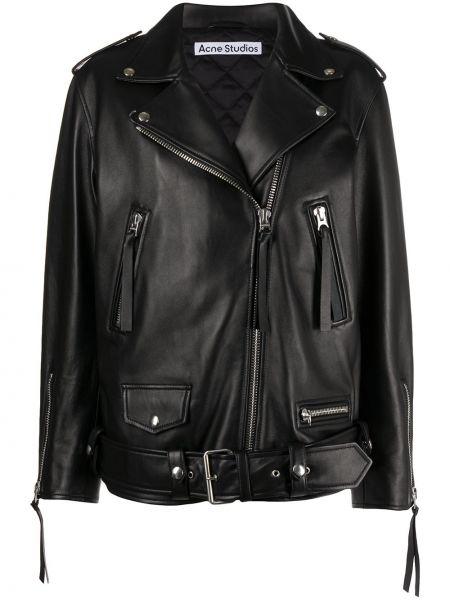Черная кожаная куртка байкерская Acne Studios