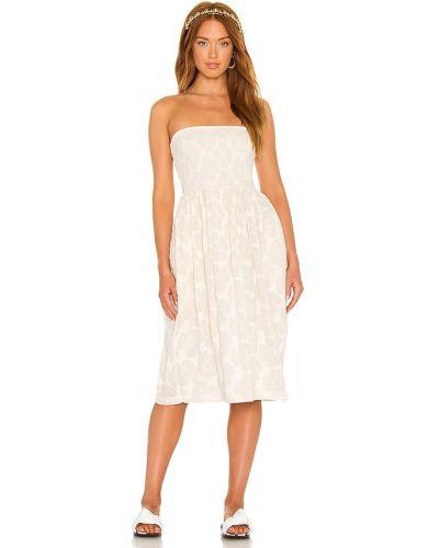 Biała sukienka z jedwabiu z haftem Lpa
