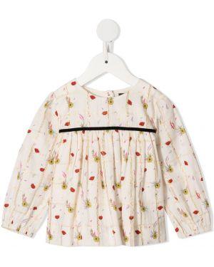 Biała bluzka z długimi rękawami bawełniana Velveteen