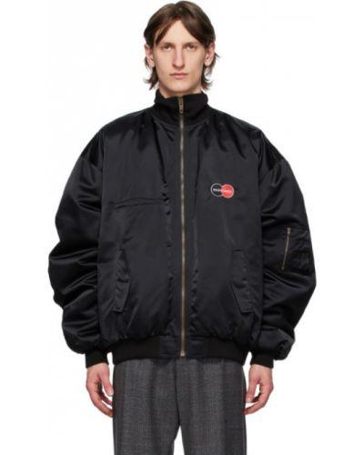 Czarny długa kurtka z mankietami z kieszeniami z kołnierzem Balenciaga