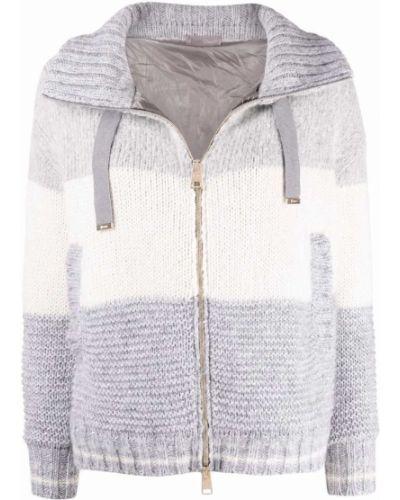 Серая куртка двусторонняя из альпаки с воротником-стойка Herno
