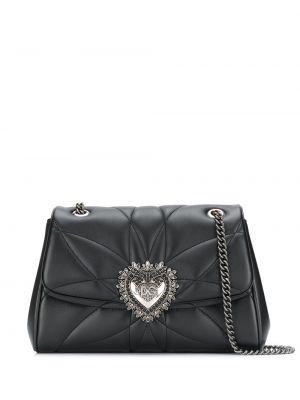 Кожаная черная стеганая сумка на цепочке на молнии Dolce & Gabbana