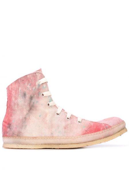 Różowy wysoki sneakersy koronkowy sznurowany A Diciannoveventitre