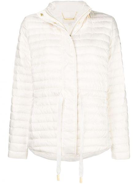 Белая куртка на молнии с воротником с перьями Michael Michael Kors