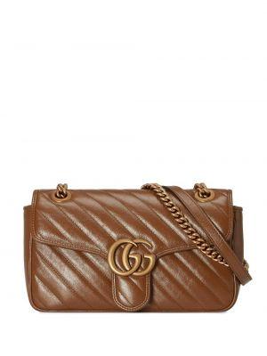 Кожаная стеганая коричневая сумка на плечо Gucci