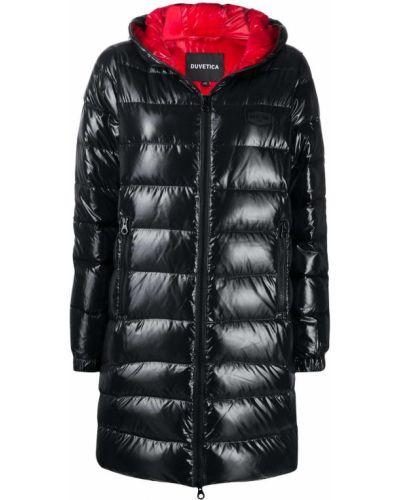 Пуховая черная длинная куртка с капюшоном Duvetica