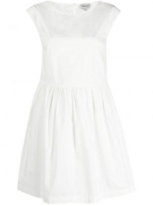 Хлопковое белое платье мини с вырезом Woolrich