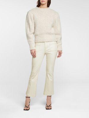 Хлопковые расклешенные белые укороченные джинсы Frame