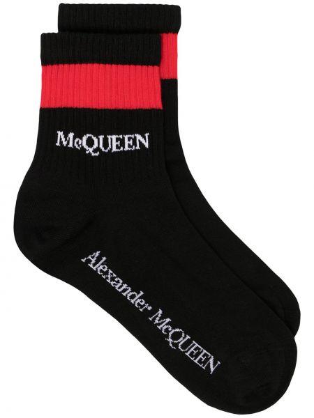 Черные хлопковые носки в полоску Alexander Mcqueen