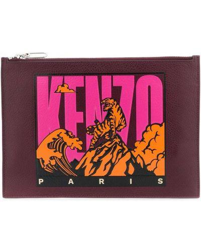 Клатч кожаный с заплатками Kenzo
