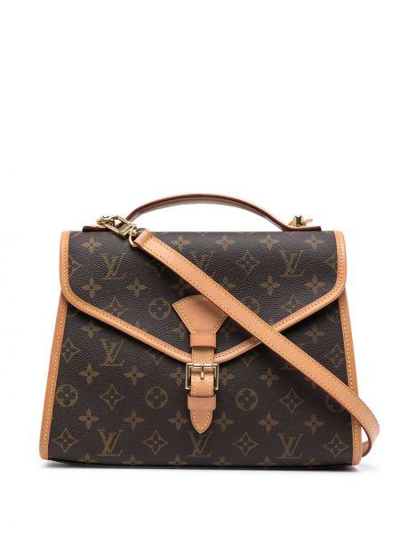 Brązowa torba na ramię skórzana z klamrą Louis Vuitton